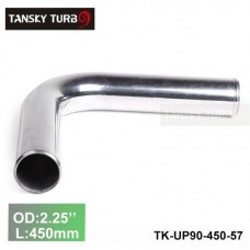 "Tansky 2pcs/unit 57mm 2.25"" 90 Degree Length 450 mm Aluminum Turbo Intercooler Pipe Straight Piping Tube Tubing TK-UP90-450-57"