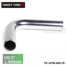 "Tansky 2pcs/unit 76mm 3"" 90 Degree Length 600 mm Aluminum Turbo Intercooler Pipe Straight Piping Tube Tubing TK-UP90-600-76"