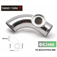 "Tansky -- 2.48"" 63mm 90 degree Flange Pipe Fit For Type-2 II 2 Adjustable SQV BOV Blow Off Valve TK-BOV01FP63-90R"