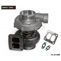 "TANSKYGT45R Turbocharger A/R .70 rear A/R 1.00 T4 twin scroll 4"" V-band oil Cooler TK-GT45R"