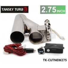 "2.75"" EXHAUST CATBACK TURBO ELECTRIC E CUTOUT With REMOTE UNIVERSAL PERFORMANCE TK-CUTNEW275"