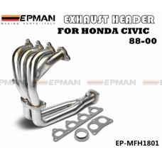 EPMAN-STAINLESS STEEL PIPING HEADER MANIFOLD EXHAUST FOR 88-00 CIVIC EG EF EK EM EP-MFH1801