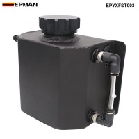 Universal 1L Alloy Aluminium Engine Oil Catch Can Breather Tank Radiator Overflow Tank EPYXFST003