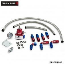 TANSKY - Universal Injected Blue Fuel Pressure Regulator Kit Liquid Gauge With Oil Fitting Fit FOR Honda Supra  EP-FPR005