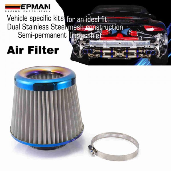 "SILVER UNIVERSAL 3/"" CONICAL AIR FILTER FOR MERCEDES-BENZ SHORT//COLD AIR INTAKE"