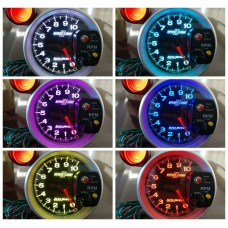 "White Box  AUTO-METER 5"" 12V Black Car RPM 10000K Tachometer Meter Gauge 7 Color LED Shift Light TK-3699R"