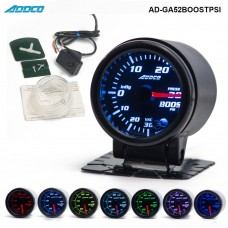 "Car Auto 12V 52mm/2"" 7 Colors Universal PSI Turbo Boost Gauge LED With Sensor and Holder AD-GA52BOOSTPSI"