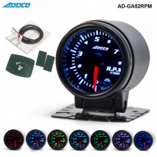 "Car Auto 12V 52mm/2"" 7 Colors Universal Car Auto Tachometer Gauge Meter LED With Sensor and Holder AD-GA52RPM"