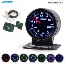 "Car Auto 12V 52mm/2"" 7 Colors Universal Voltmeter Volt Gauge LED With Holder AD-GA52VOLT"