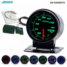"2"" 52mm 7 Color LED Smoke Face Water Temp gauge Water Temperature Meter With Sensor Car meter Auto Gauge AD-GA52WTA"