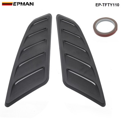 EPMAN Universal Hood Louvers Panels Air Flow Vent Cover Car Roof Decorative Intake Hood Scoop 2pcs EP-TFTY110