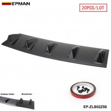 "EPMAN - 20PCS/LOT Shark Fin 5 Wing Lip Diffuser 23"" x 6"" Rear Bumper Chassis Black/Carbon Color ABS Universal EP-ZLB02Z58-20T"