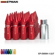 EPMAN -Racing Aluminum Lock Locking Lug Nuts With Spikes 20pcs  W/Key For Nissan Subaru Suzuki Aftermarker Wheel Nuts EP-E650H-JT