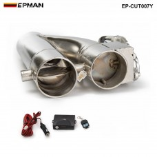 "EPMAN -Patented Product 2.25"" / 2.5"" / 3"" Electric Exhaust Downpipe Cutout E-Cut Out Dual-Valve Controller Remote Kit EP-CUT007Y"