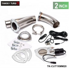 "TANSKY - 2"" ELECTRIC EXHAUST CATBACK/DOWNPIPE CUTOUT/E-CUT OUT VALVE SYSTEM KIT W/O REMOTE TK-CUTYXMM20"