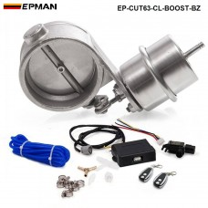 "EPMAN - Exhaust Control Valve Set With Boost Actuator Cutout 2.5"" 63mm Pipe CLOSE STYLE with Wireless Remote Controller Set EP-CUT63-CL-BOOST-BZ"