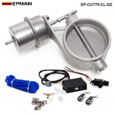EPMAN - Exhaust Control Valve Set With Vacuum Actuator CUTOUT 70mm Pipe CLOSE STYLE with Wireless Remote Controller EP-CUT70-CL-DZ