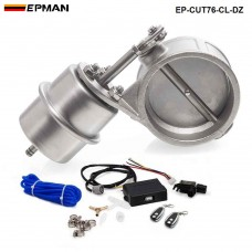"EPMAN - Exhaust Control Valve Set Cutout 3"" 76mm Pipe Close Style With Vacuum Actuator with Wireless Remote Controller Set EP-CUT76-CL-DZ"