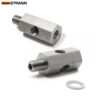 "EPMAN Stainless steel 1/8'' NPT & 1/8""BSPT & M10 Oil Pressure Sensor Tee To NPT Adapter Turbo Feed Line Gauge EP-CGQ200"