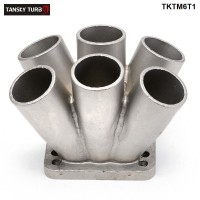 TANSKY -1PC Cast Stainless Steel 304  6-1 Turbo Header Manifold Merge Collecttor T3 T4 Turbo TKTM6T1