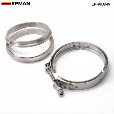 "EPMAN - Racing Car T304 Stainless Steel V Band Clamp Flange Assembly For Exhaust Turbo Wastegate  4.5"" OD Pipe EP-VKG45"