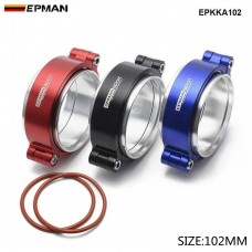 "EPMAN - HD  Exhaust V-band Clamp w Flange System Assembly Anodized Clamp For 4"" OD Turbo Dump Intercooler Pipe EPKKA102"