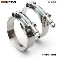 "1Pair/unit  2.5"" INCH (67MM-75MM) SILICONE TURBO HOSE COUPLER T BOLT SUPER CLAMP KIT (EP-KG67)"