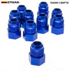 EPMAN -10PCS/LOT  Fitting Flare Reducer Female -1/8NPT to Male -10 AN Blue Oil/Fuel Fitting Adapter 10ANW-1/8NPTN