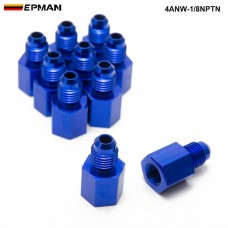 EPMAN -10PCS/LOT  Fitting Flare Reducer Female -1/8NPT to Male -4AN Blue Oil/Fuel Alloy Fitting 4ANW-1/8NPTN