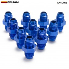 EPMAN - 10PCS/LOT Blue 6AN AN6 Flare Union Aluminum Fitting Hose End Connector Fitting Adapter For Oil Cooler/Gauge AN6-AN6