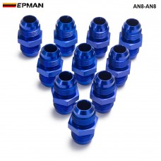 EPMAN - 10PCS/LOT Blue AN8-AN8 Male Blued Anodized Aluminum Union Adapter Fittings For All Oil coole / Fuel Tank AN8-AN8