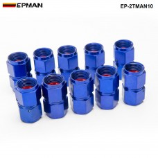 10PCS/SET Blue AN10 Fuel Oil Fitting Aluminum Hose End Adaptor 2 Side Female Fitting EP-2TMAN10
