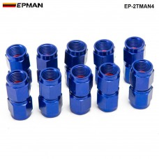 10PCS/SET Blue 2-Side Female Swivel Hose End Fuel/Fluid 4AN Fitting Adapter Universal EP-2TMAN4