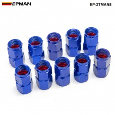 10PCS/SET Blue AN8 Universal Swivel Oil Fuel Line Hose End 2-Side Female Fitting EP-2TMAN8
