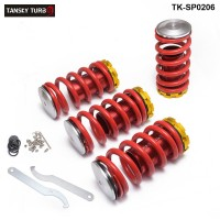 Tansky - High Performance Adjustable High Low Coilover Silver Lowering Spring For Honda Civic 02-06 TK-SP0206